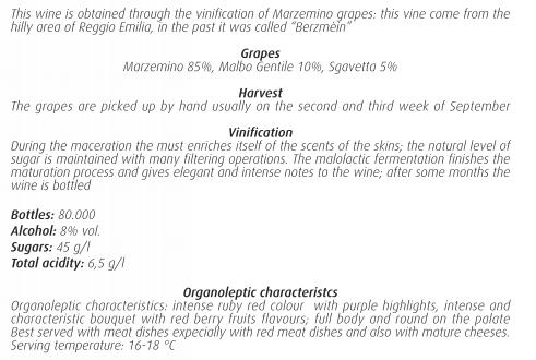 Технический лист Nobilomo Marzemino